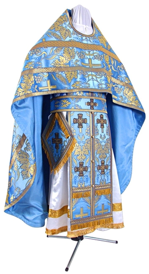 Russian Priest vestments - metallic brocade BG3 (blue-gold)