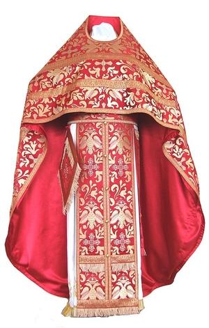 Russian Priest vestments - metallic brocade BG3 (red-gold)