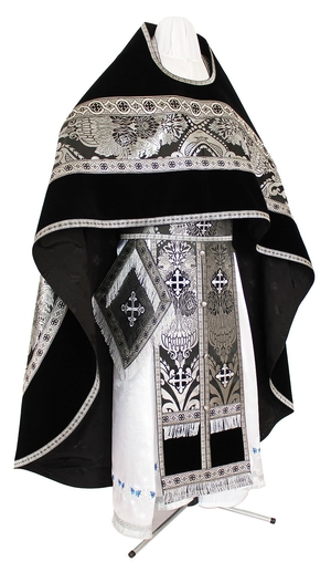 Russian Priest vestments - metallic brocade BG3 (black-silver)
