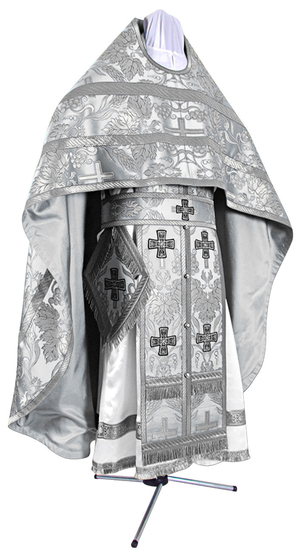 Russian Priest vestments - metallic brocade BG3 (white-silver)