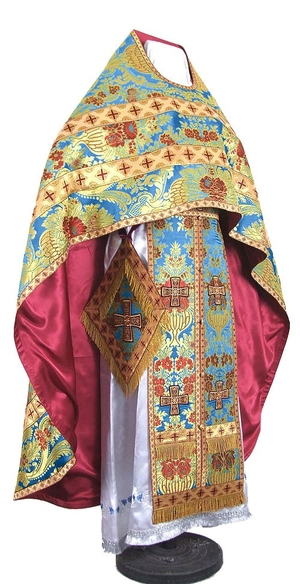 Russian Priest vestments - metallic brocade BG4 (blue-gold)