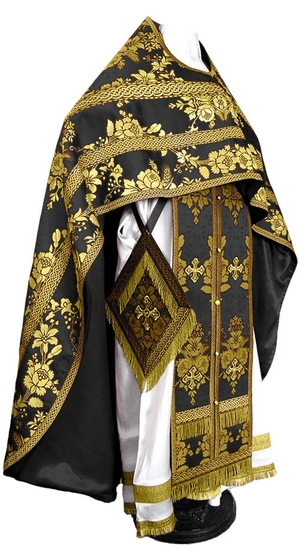 Russian Priest vestments - metallic brocade BG4 (black-gold)
