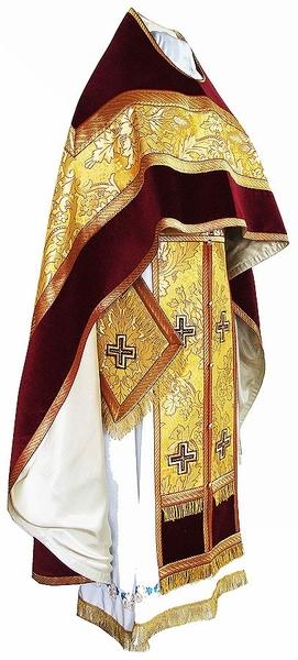 Russian Priest vestments - metallic brocade BG4 (yellow-claret-gold)