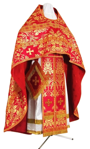 Russian Priest vestments - metallic brocade BG4 (red-gold)