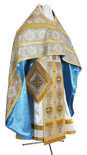 Russian Priest vestments - metallic brocade BG5 (blue-gold)