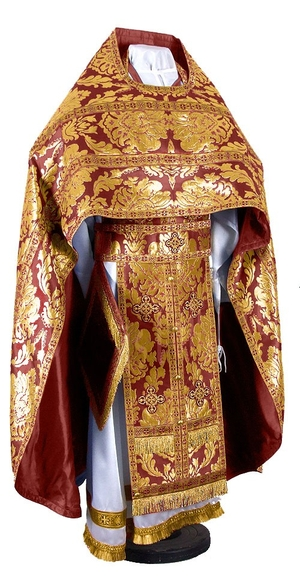 Russian Priest vestments - metallic brocade BG5 (claret-gold)