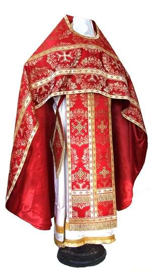 Russian Priest vestments - metallic brocade BG5 (red-gold)