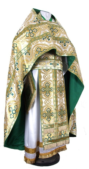 Russian Priest vestments - metallic brocade BG5 (white-gold)