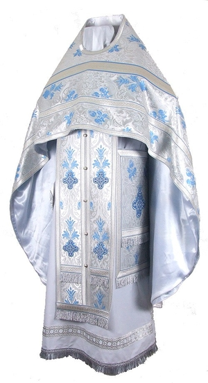 Russian Priest vestments - metallic brocade BG5 (white-silver)