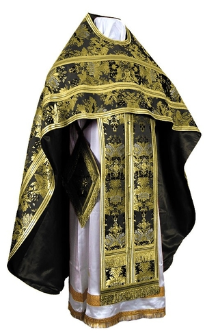 Russian Priest vestments - metallic brocade BG6 (black-gold)