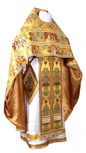 Russian Priest vestments - metallic brocade BG6 (yellow-claret-gold)