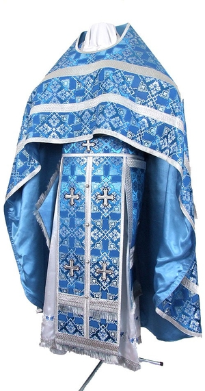Russian Priest vestments - rayon brocade S2 (blue-silver)
