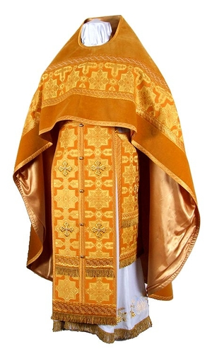Russian Priest vestments - rayon brocade S2 (yellow-claret-gold)