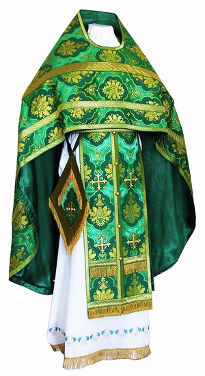 Russian Priest vestments - rayon brocade S2 (green-gold)