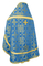 Russian Priest vestments - Iveron rayon brocade S3 (blue-gold) back, Standard design
