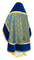 Russian Priest vestments - Alpha-&-Omega rayon brocade S3 (blue-gold) with velvet inserts, back, Standard design