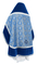 Russian Priest vestments - Alpha-&-Omega rayon brocade S3 (blue-silver) with velvet inserts, back, Standard design