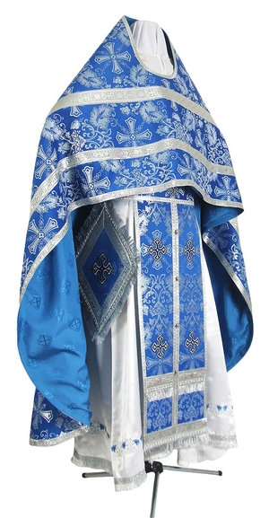 Russian Priest vestments - rayon brocade S3 (blue-silver)