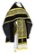 Russian Priest vestments - Alpha-&-Omega rayon brocade S3 (black-gold) with velvet inserts,, Standard design
