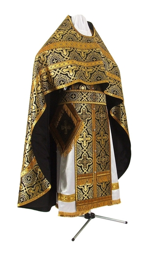 Russian Priest vestments - rayon brocade S3 (black-gold)