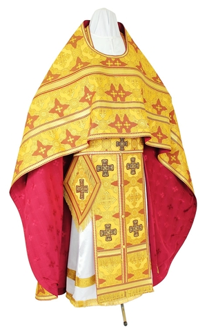 Russian Priest vestments - rayon brocade S3 (yellow-claret-gold)