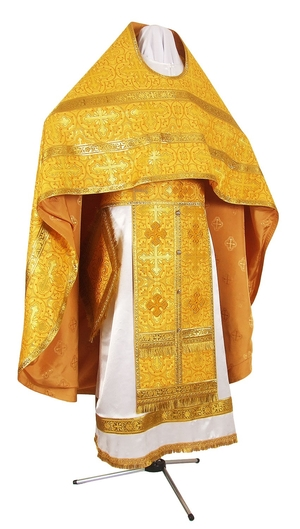Russian Priest vestments - rayon brocade S3 (yellow-gold)