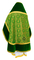 Russian Priest vestments - Alpha-&-Omega rayon brocade S3 (green-gold) with velvet inserts, back, Standard design