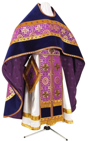 Russian Priest vestments - rayon brocade S3 (violet-gold)
