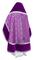 Russian Priest vestments - Alpha-&-Omega rayon brocade S3 (violet-silver) with velvet inserts, back, Standard design