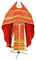 Russian Priest vestments - Cornflowers rayon brocade S3 (red-gold), Standard cross design
