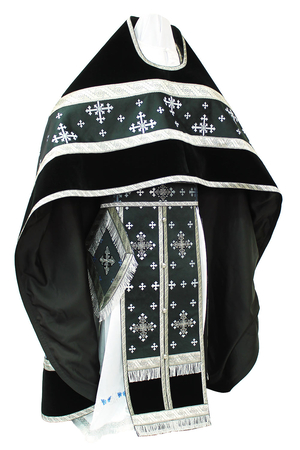 Russian Priest vestments - rayon brocade S3 (black-silver)