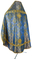 Russian Priest vestments - Pochaev rayon brocade S4 (blue-gold) back, Standard design