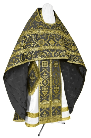 Russian Priest vestments - rayon brocade S4 (black-gold)