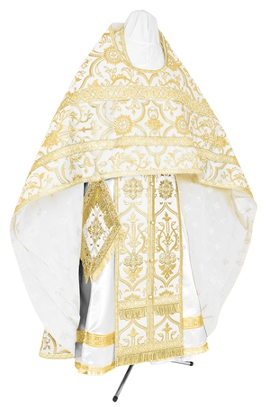 Russian Priest vestments - rayon brocade S4 (white-gold)