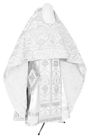 Russian Priest vestments - rayon brocade S4 (white-silver)