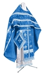 Russian Priest vestments - rayon Chinese brocade (blue-silver)