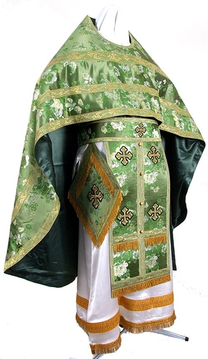 Russian Priest vestments - rayon Chinese brocade (green-gold)