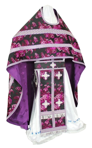Russian Priest vestments - rayon Chinese brocade (violet-silver)
