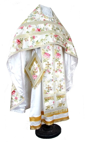 Russian Priest vestments - rayon Chinese brocade (white-gold)