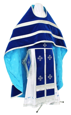 Russian Priest vestments - natural German velvet (blue-silver)