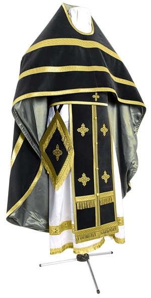 Russian Priest vestments - natural German velvet (black-gold)