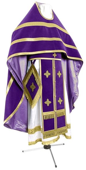 Russian Priest vestments - natural German velvet (violet-gold)