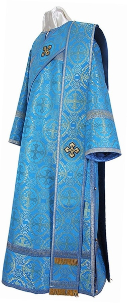 Deacon vestments - metallic brocade B (blue-gold)