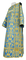 Deacon vestments - Peacocks rayon brocade S4 (blue-gold) with velvet inserts, Standard design