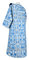 Deacon vestments - Peacocks rayon brocade S4 (blue-silver) with velvet inserts, back, Standard design