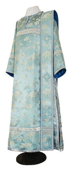 Deacon vestments - rayon Chinese brocade (blue-silver)
