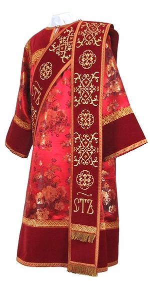 Deacon vestments - rayon Chinese brocade (red-gold)