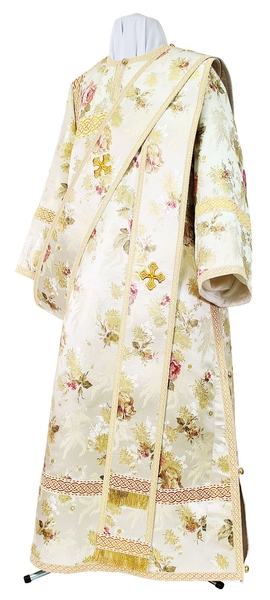 Deacon vestments - rayon Chinese brocade (white-gold)