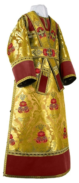 Subdeacon vestments - metallic brocade BG4 (yellow-claret-gold)