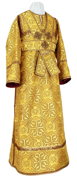 Subdeacon vestments - rayon brocade S3 (yellow-claret-gold)